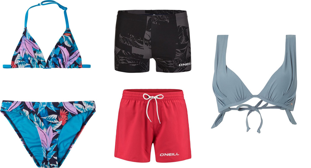 O'Neill blue duurzame zwemkleding met bikini, zwembroek en zwemshort