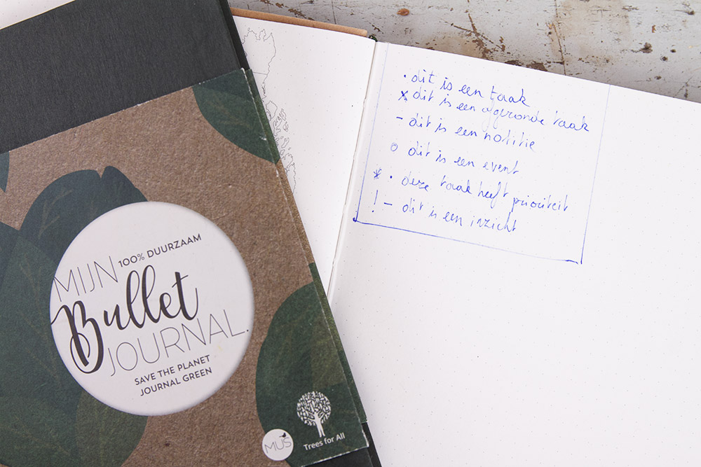 Taken, notities, events in mijn bullet journal duurzaam